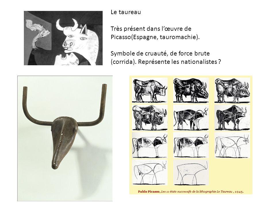 Le taureau Très présent dans l'œuvre de Picasso(Espagne, tauromachie).