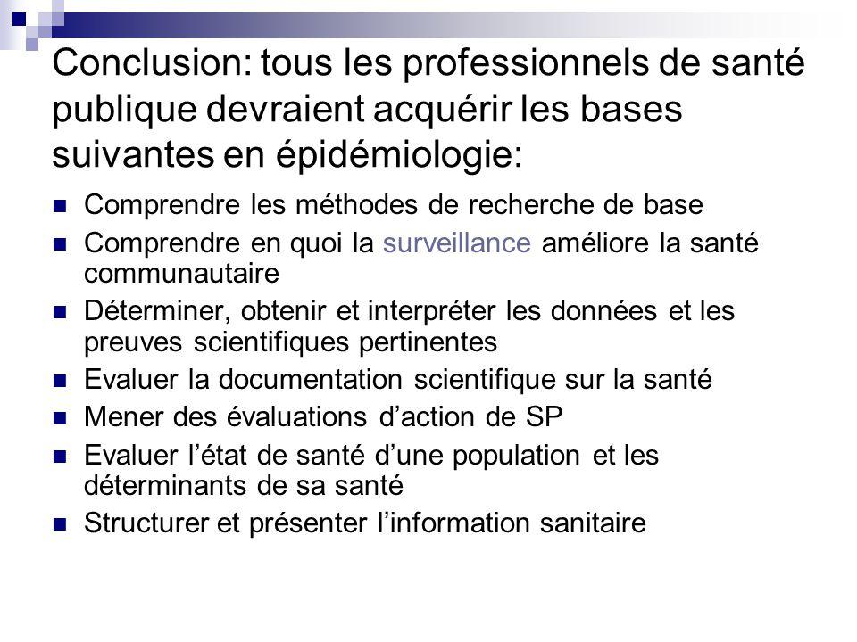 Conclusion: tous les professionnels de santé publique devraient acquérir les bases suivantes en épidémiologie: