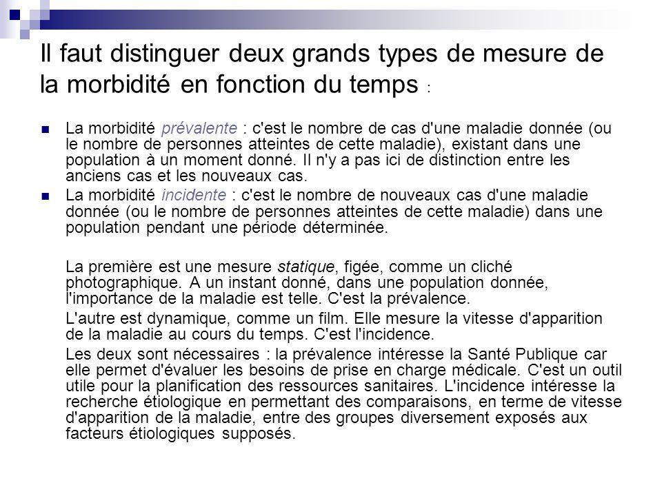 Il faut distinguer deux grands types de mesure de la morbidité en fonction du temps :