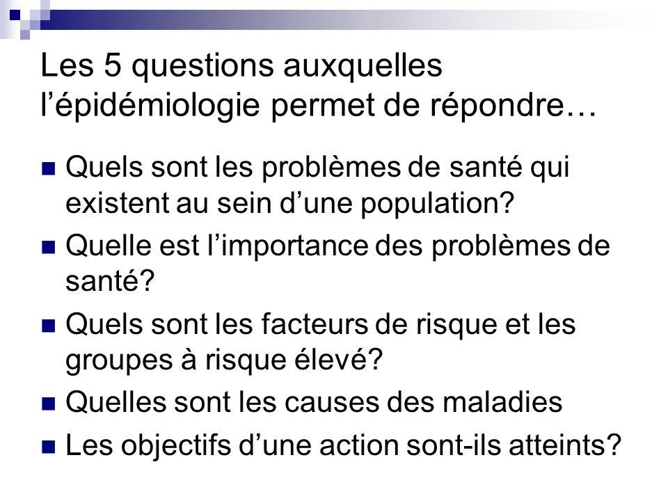 Les 5 questions auxquelles l'épidémiologie permet de répondre…
