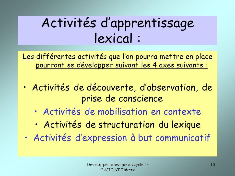 Activités d'apprentissage lexical :