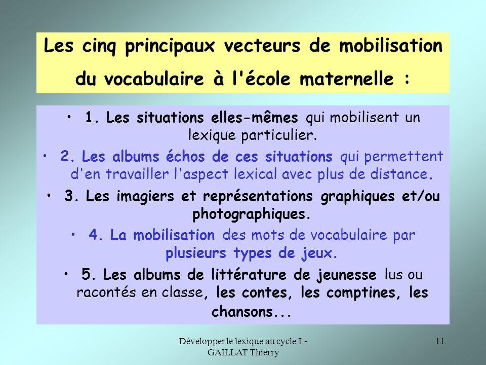 Les cinq principaux vecteurs de mobilisation du vocabulaire à l école maternelle :