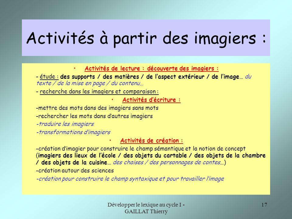 Activités à partir des imagiers :