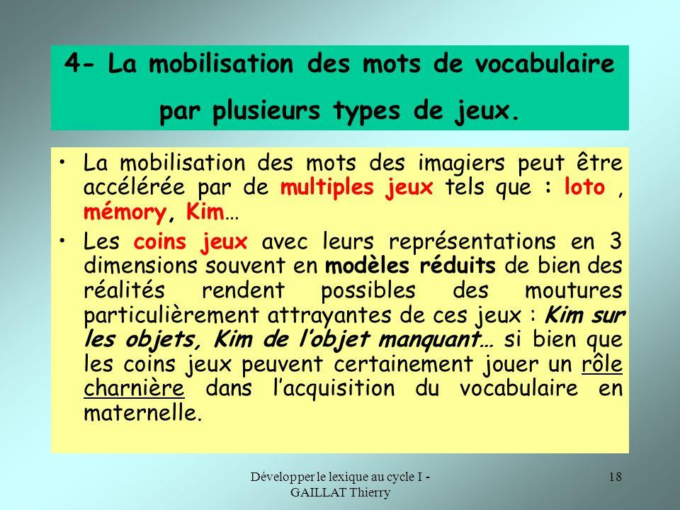 Développer le lexique au cycle I - GAILLAT Thierry