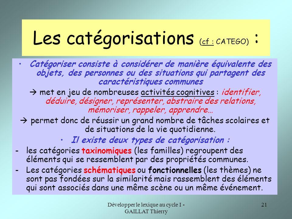 Les catégorisations (cf : CATEGO) :