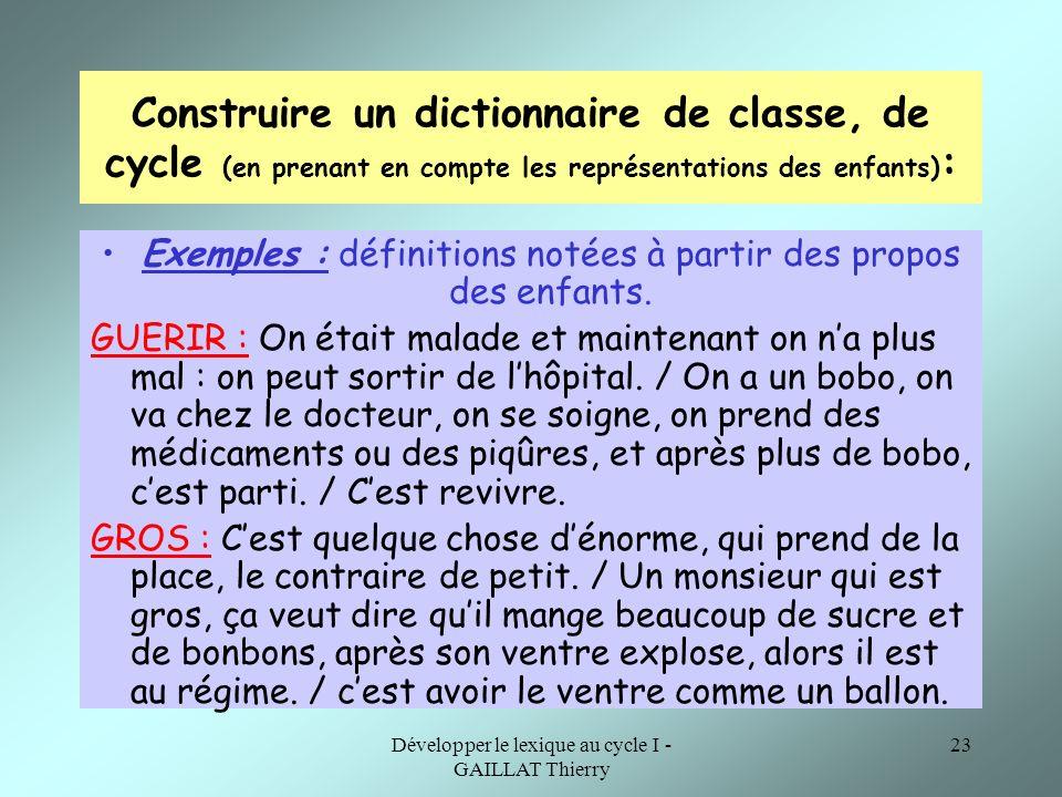 Construire un dictionnaire de classe, de cycle (en prenant en compte les représentations des enfants):