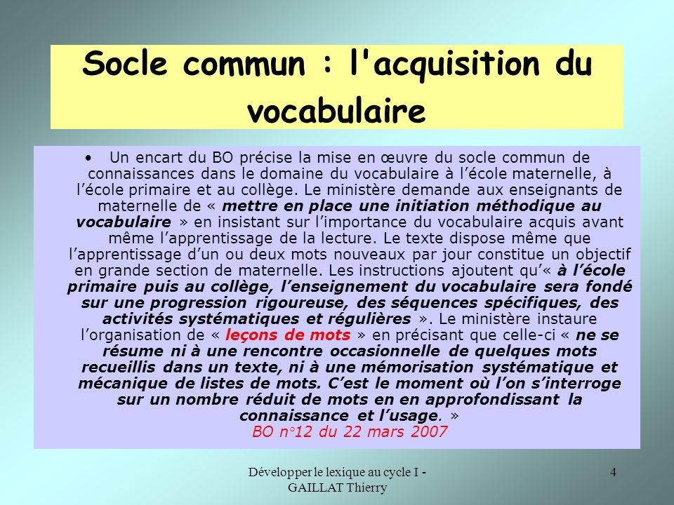 Socle commun : l acquisition du vocabulaire
