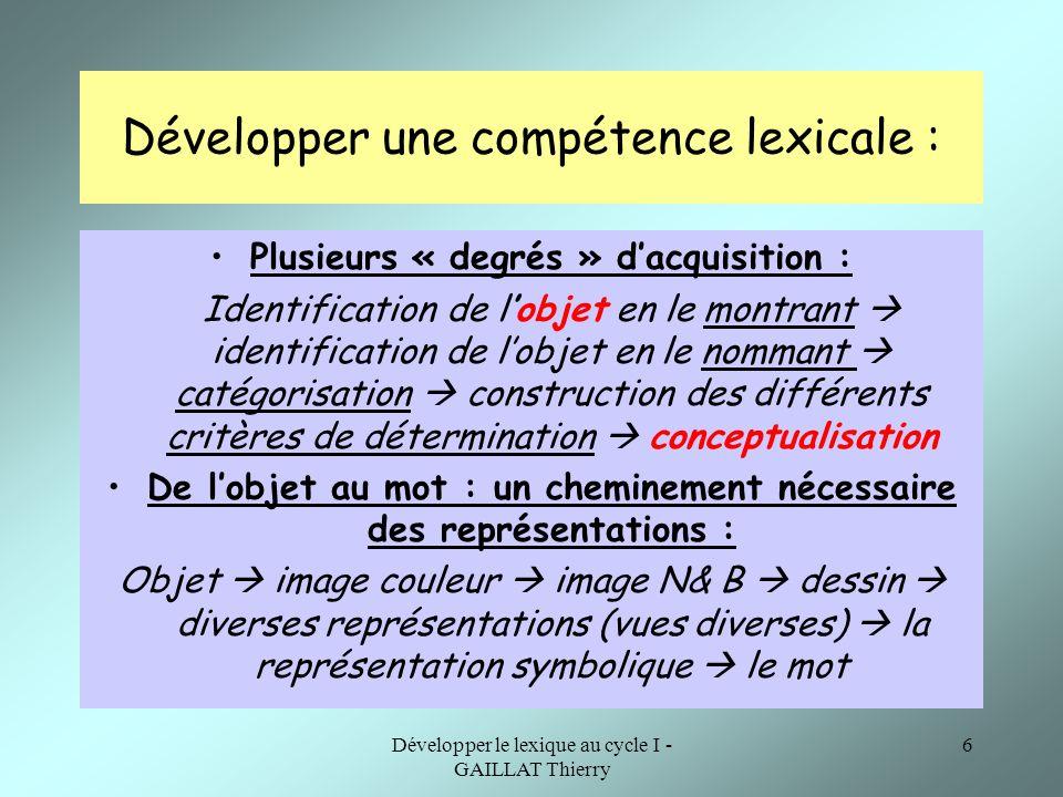 Développer une compétence lexicale :