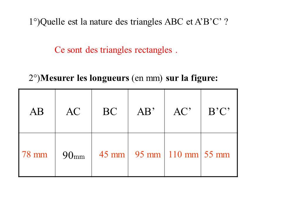 1°)Quelle est la nature des triangles ABC et A'B'C'
