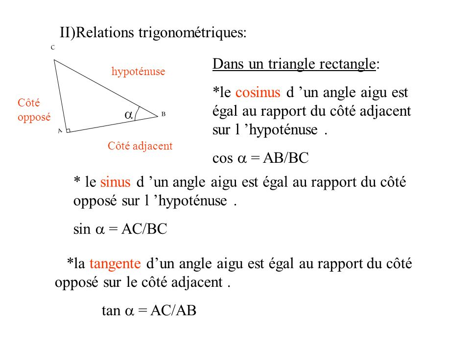 II)Relations trigonométriques:
