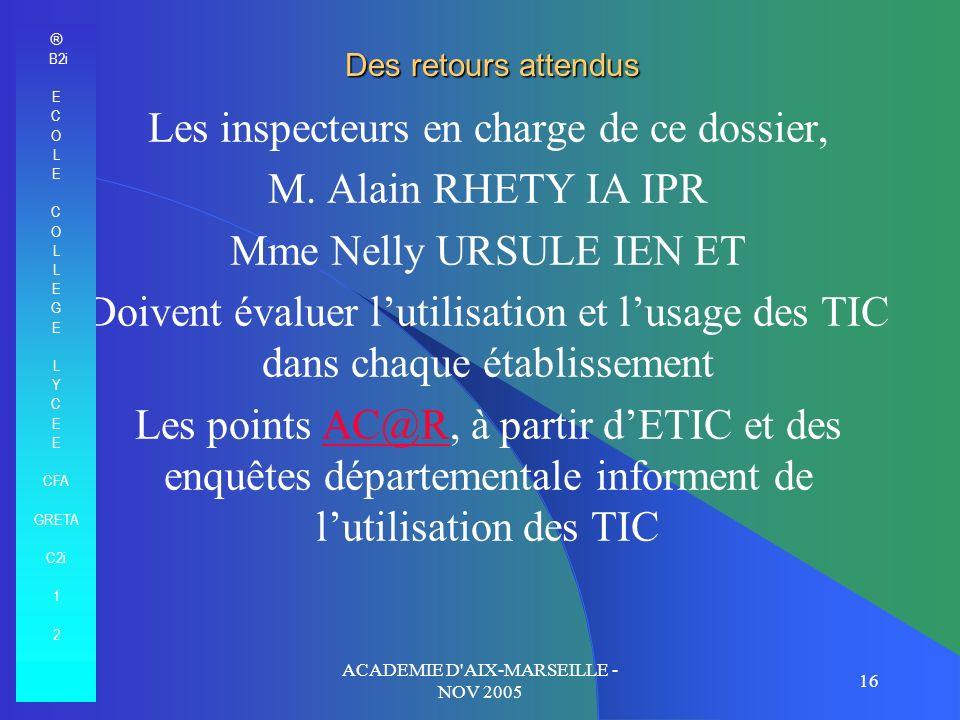 Les inspecteurs en charge de ce dossier, M. Alain RHETY IA IPR