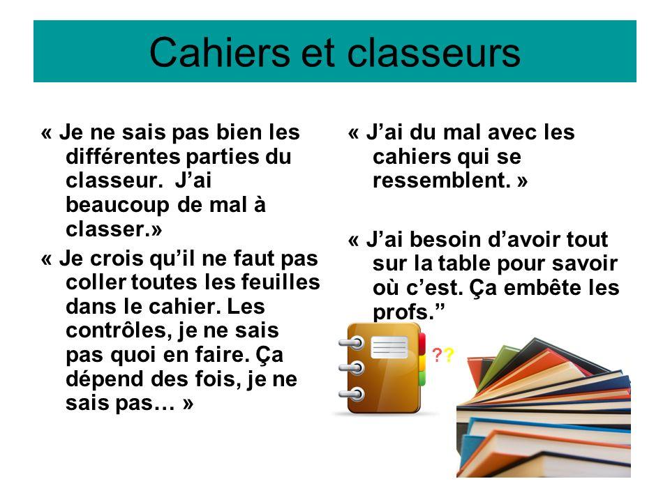 Cahiers et classeurs « Je ne sais pas bien les différentes parties du classeur. J'ai beaucoup de mal à classer.»