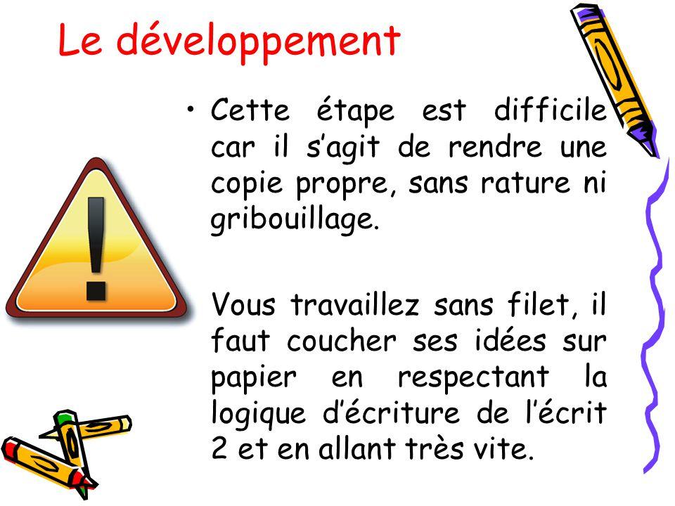 Le développement Cette étape est difficile car il s'agit de rendre une copie propre, sans rature ni gribouillage.