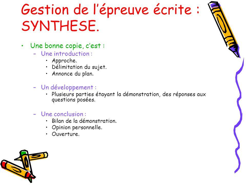 Gestion de l'épreuve écrite : SYNTHESE.