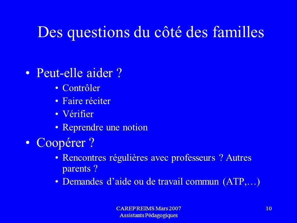Des questions du côté des familles