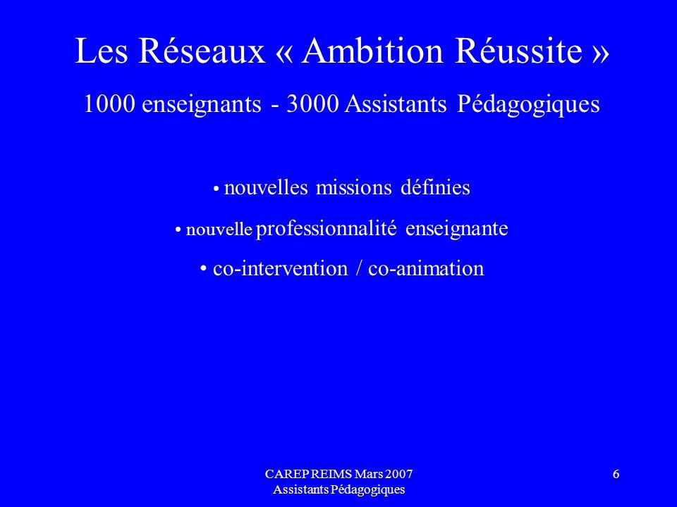 Les Réseaux « Ambition Réussite »