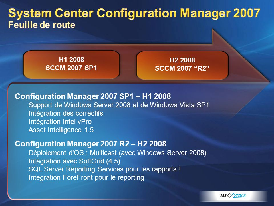 System Center Configuration Manager 2007 Feuille de route