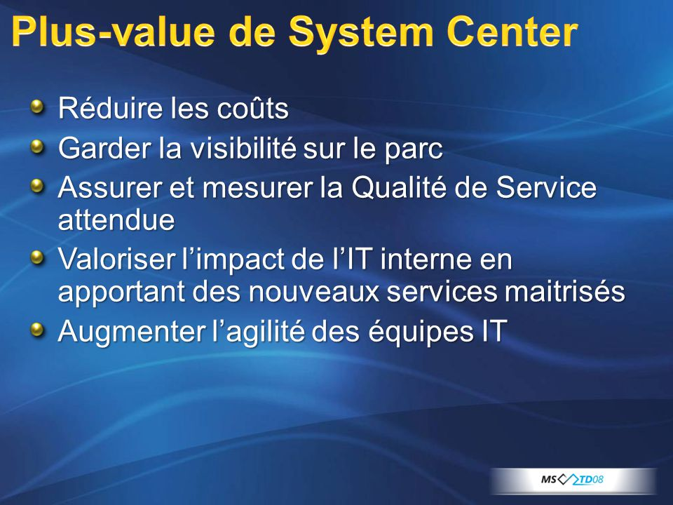 Plus-value de System Center