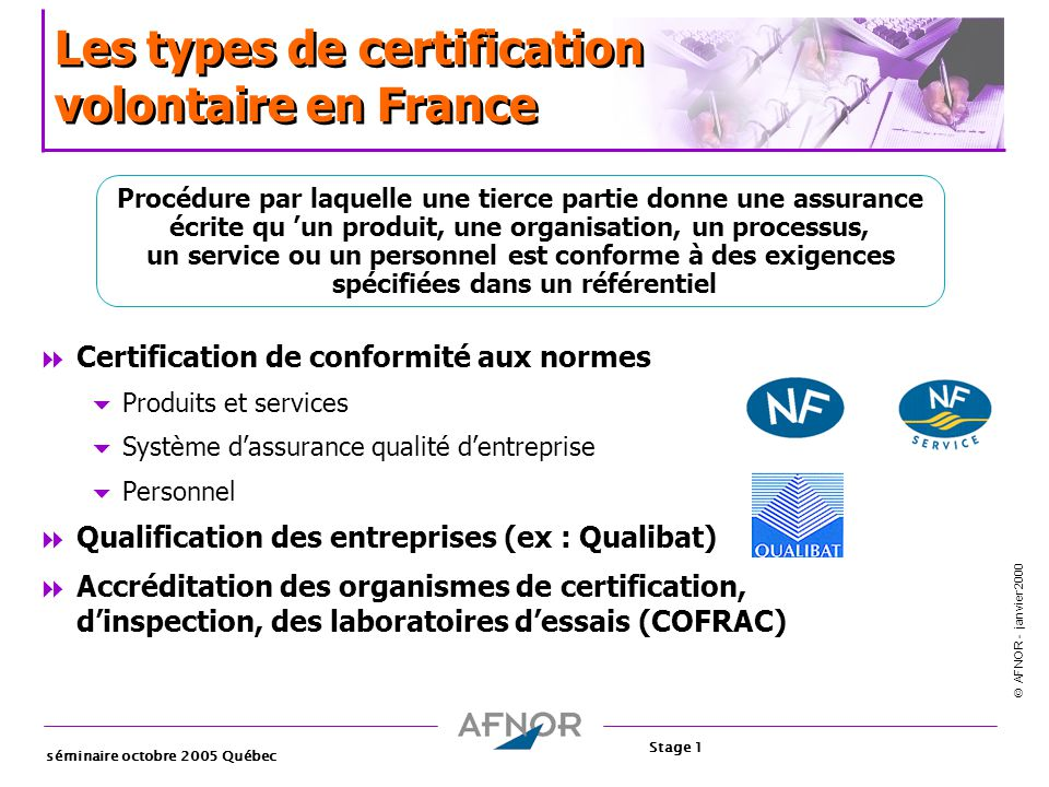 Les types de certification volontaire en France