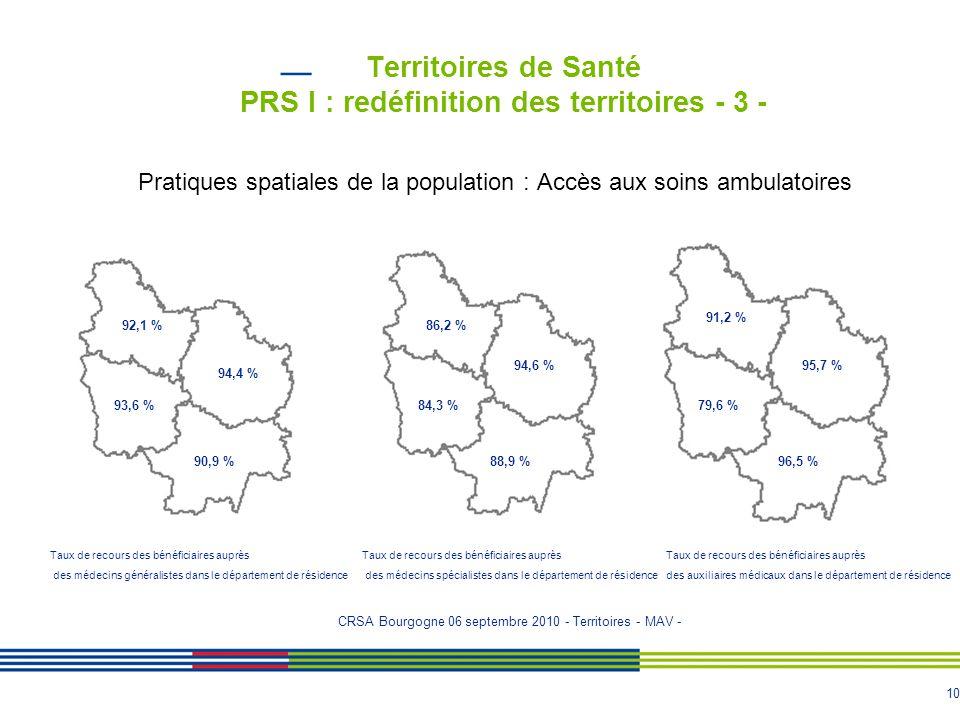 Territoires de Santé PRS I : redéfinition des territoires - 3 -