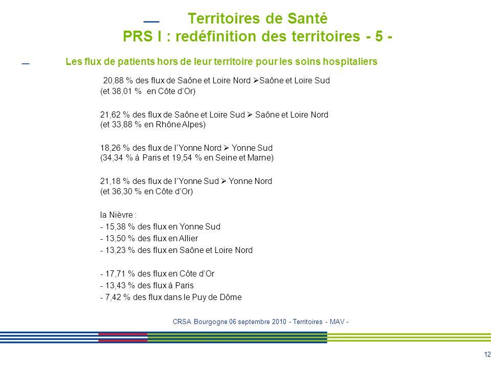 Territoires de Santé PRS I : redéfinition des territoires - 5 -