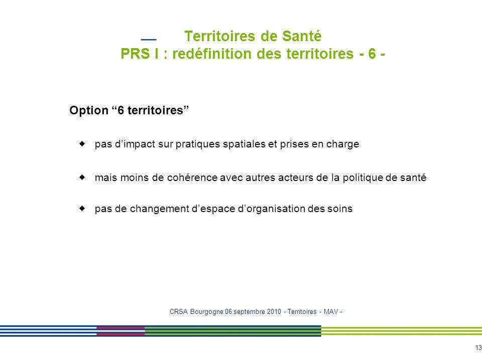 Territoires de Santé PRS I : redéfinition des territoires - 6 -