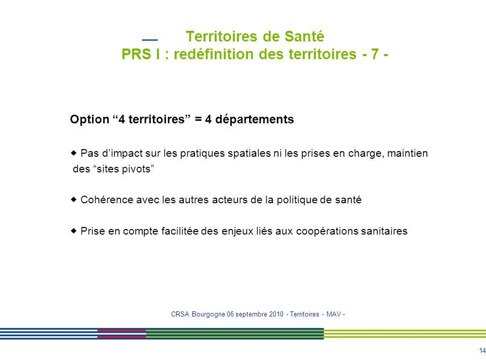 Territoires de Santé PRS I : redéfinition des territoires - 7 -