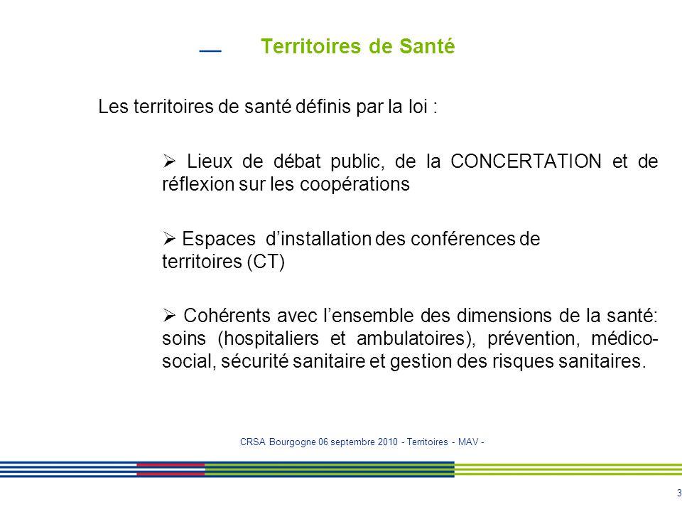 Territoires de Santé Les territoires de santé définis par la loi :