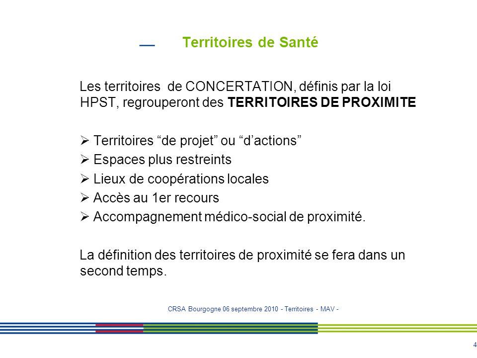Territoires de Santé Les territoires de CONCERTATION, définis par la loi HPST, regrouperont des TERRITOIRES DE PROXIMITE.