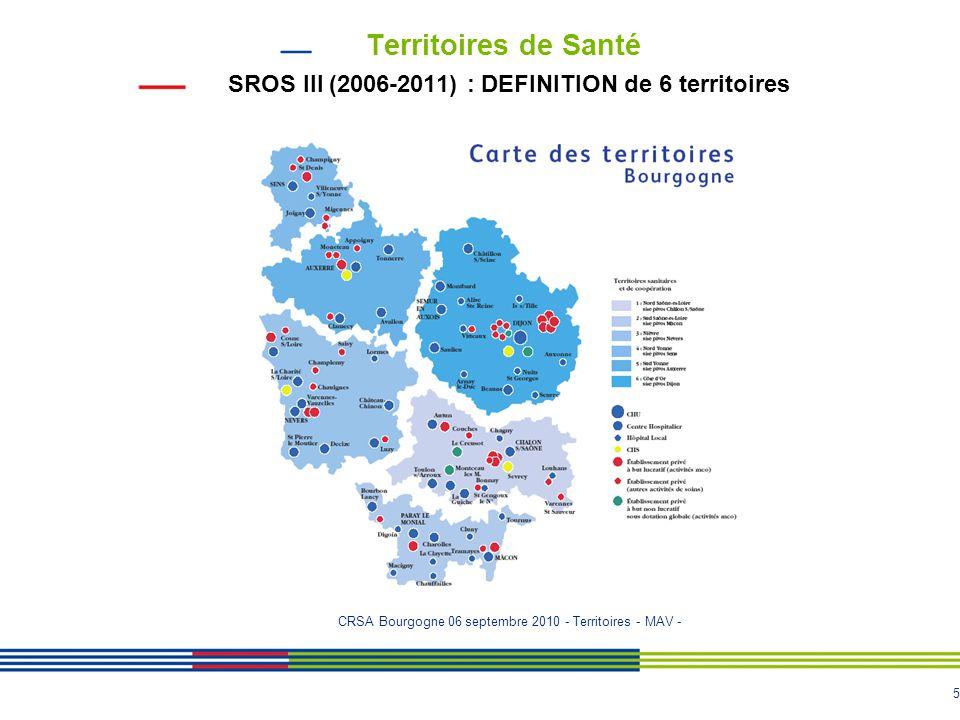 Territoires de Santé SROS III (2006-2011) : DEFINITION de 6 territoires.