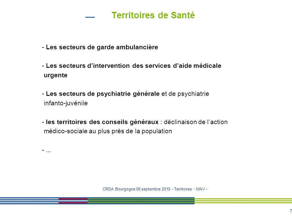 Territoires de Santé - Les secteurs de garde ambulancière