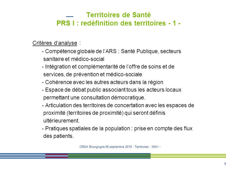 Territoires de Santé PRS I : redéfinition des territoires - 1 -