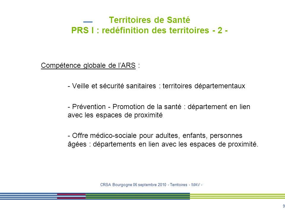 Territoires de Santé PRS I : redéfinition des territoires - 2 -