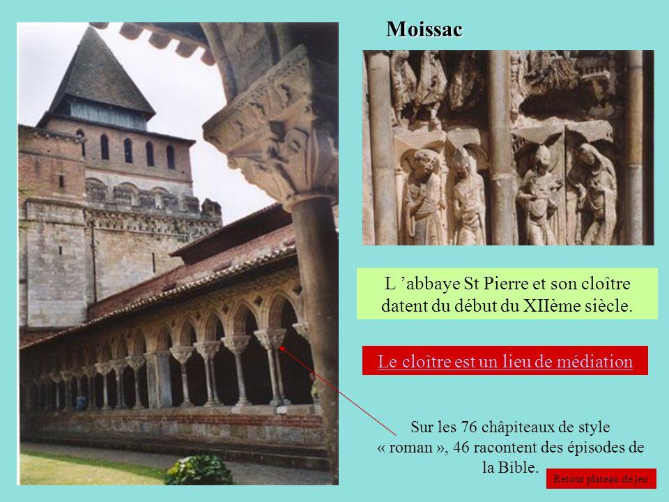Moissac L 'abbaye St Pierre et son cloître datent du début du XIIème siècle. Le cloître est un lieu de médiation.