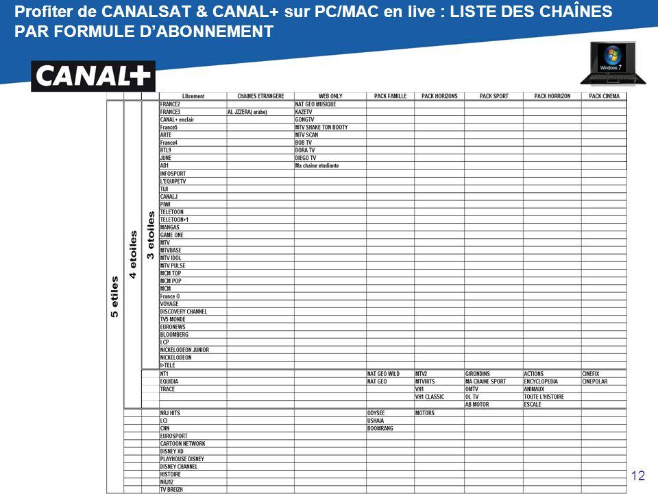 Profiter de CANALSAT & CANAL+ sur PC/MAC en live : LISTE DES CHAÎNES PAR FORMULE D'ABONNEMENT
