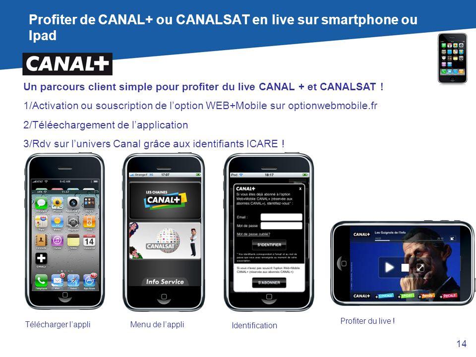 Profiter de CANAL+ ou CANALSAT en live sur smartphone ou Ipad
