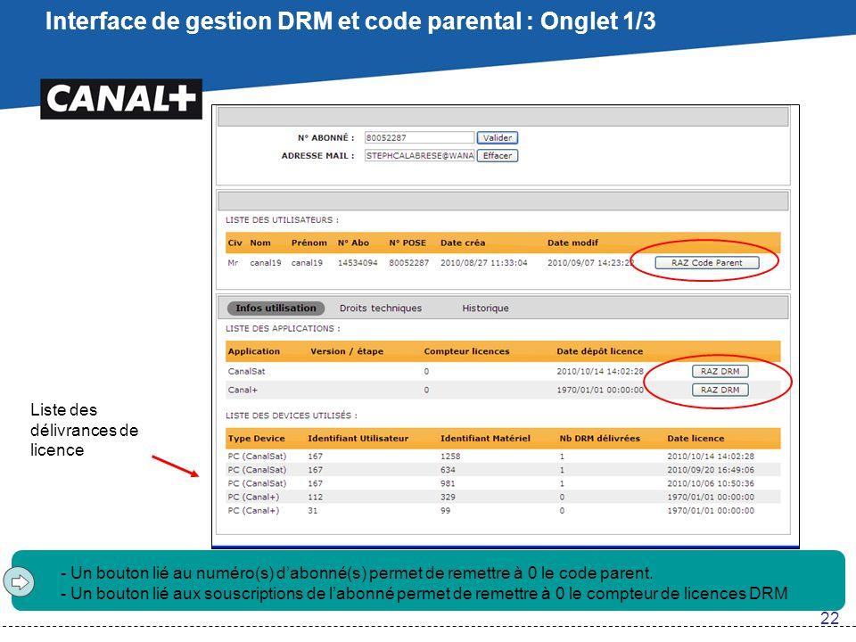 Interface de gestion DRM et code parental : Onglet 1/3