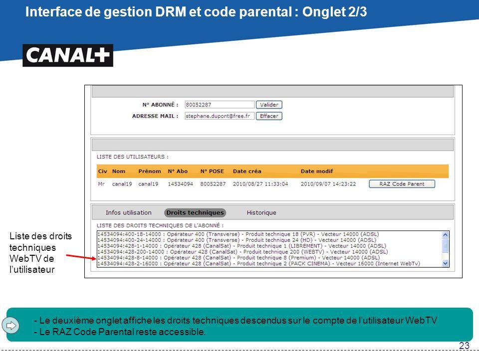 Interface de gestion DRM et code parental : Onglet 2/3