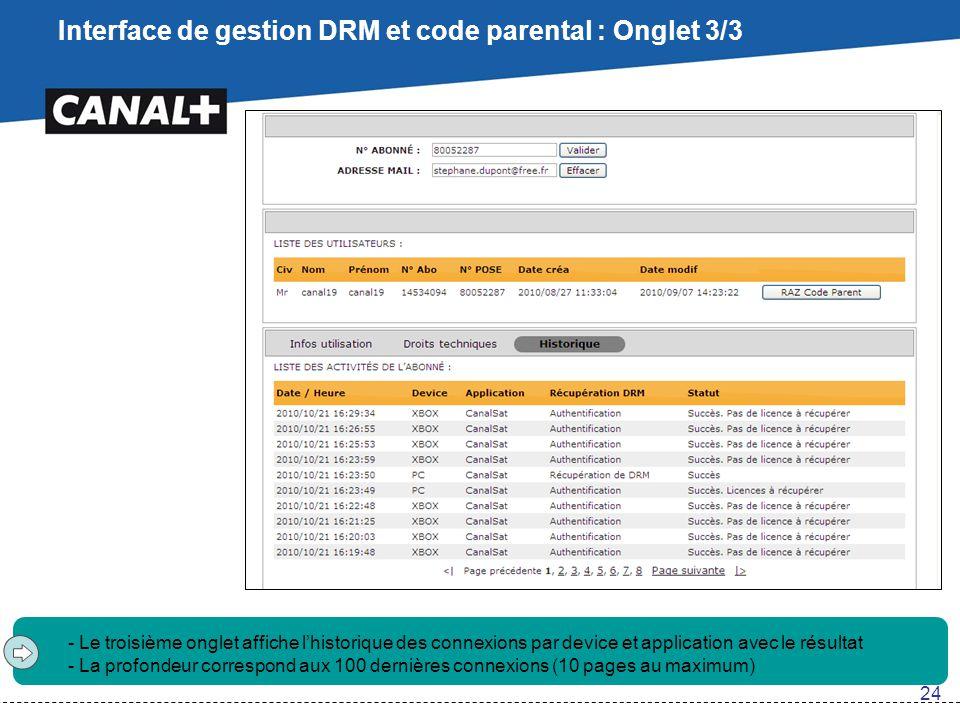 Interface de gestion DRM et code parental : Onglet 3/3