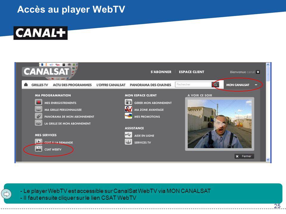 Accès au player WebTV Le player WebTV est accessible sur CanalSat WebTV via MON CANALSAT. Il faut ensuite cliquer sur le lien CSAT WebTV.