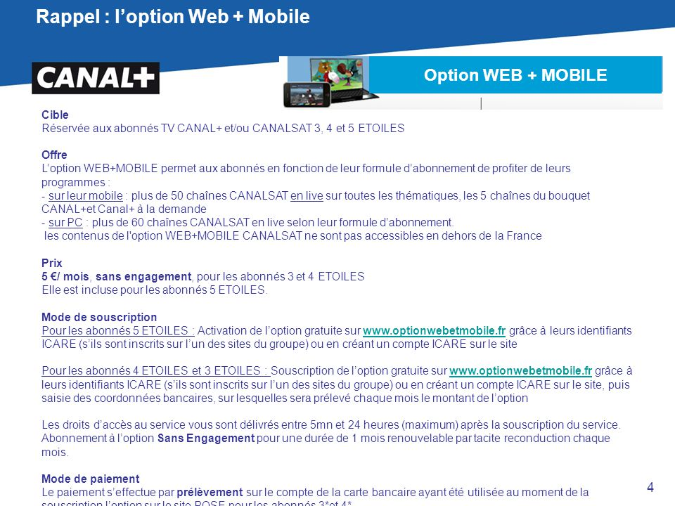 Rappel : l'option Web + Mobile