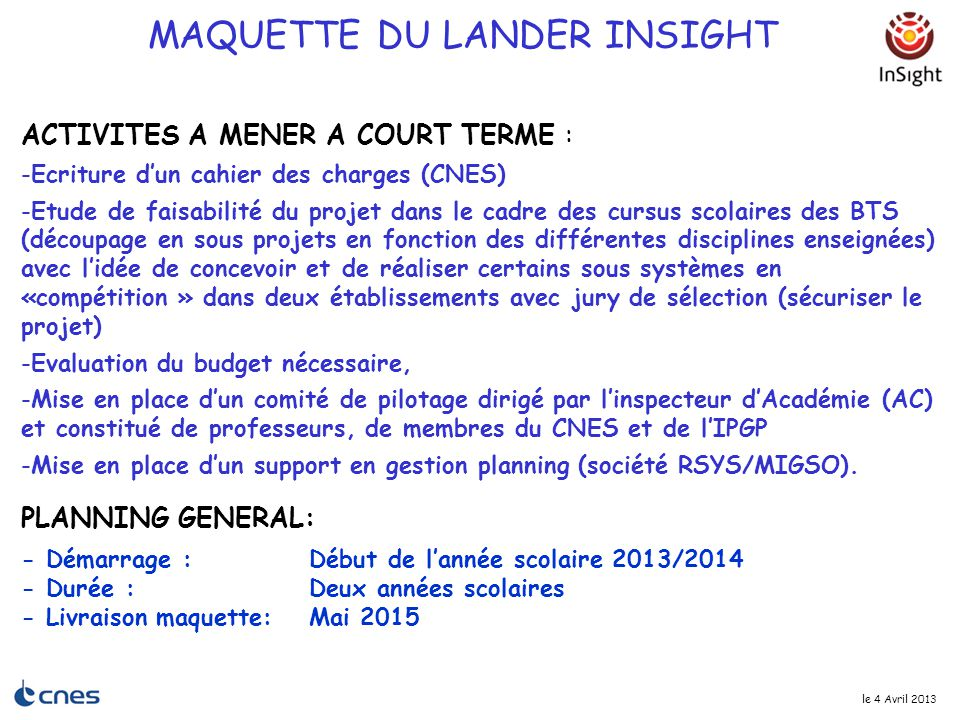 MAQUETTE DU LANDER INSIGHT