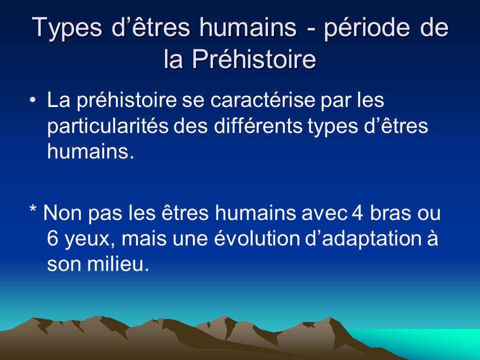 Types d'êtres humains - période de la Préhistoire