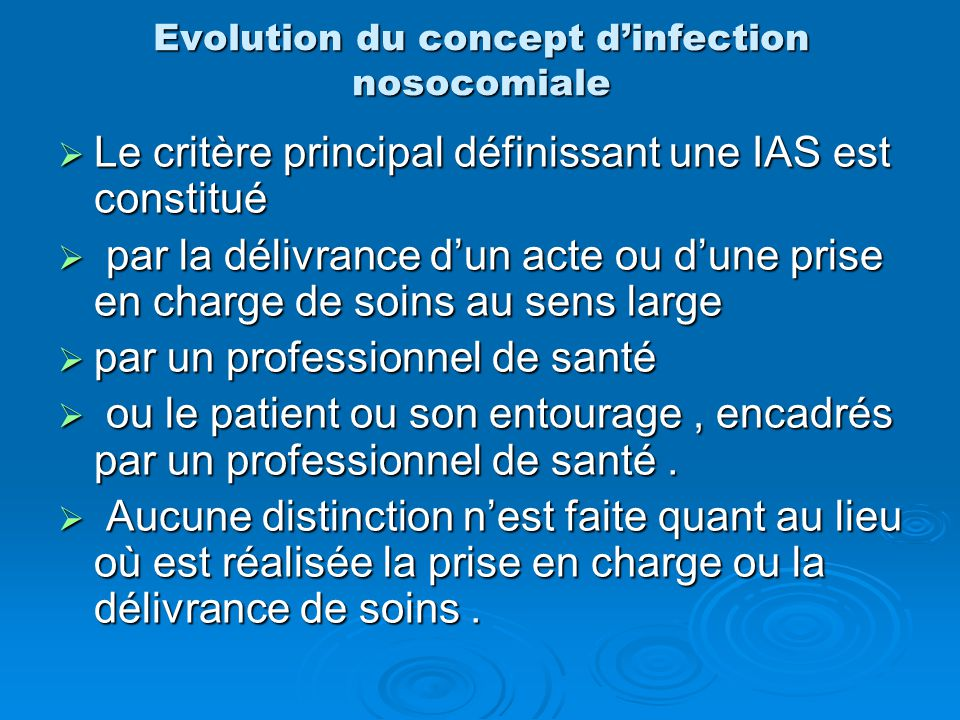 Evolution du concept d'infection nosocomiale