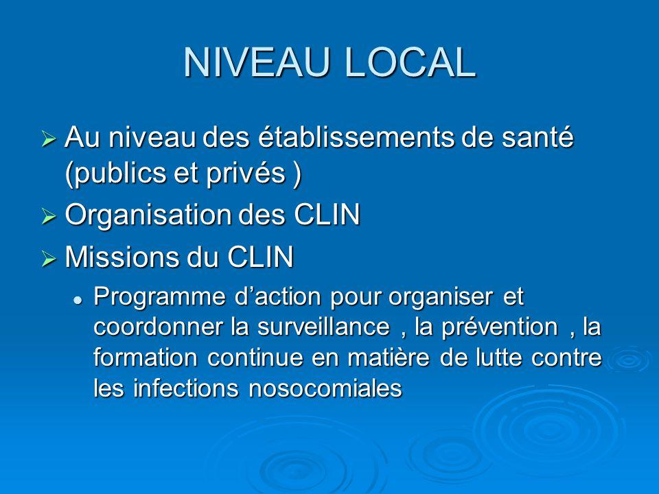 NIVEAU LOCAL Au niveau des établissements de santé (publics et privés ) Organisation des CLIN. Missions du CLIN.
