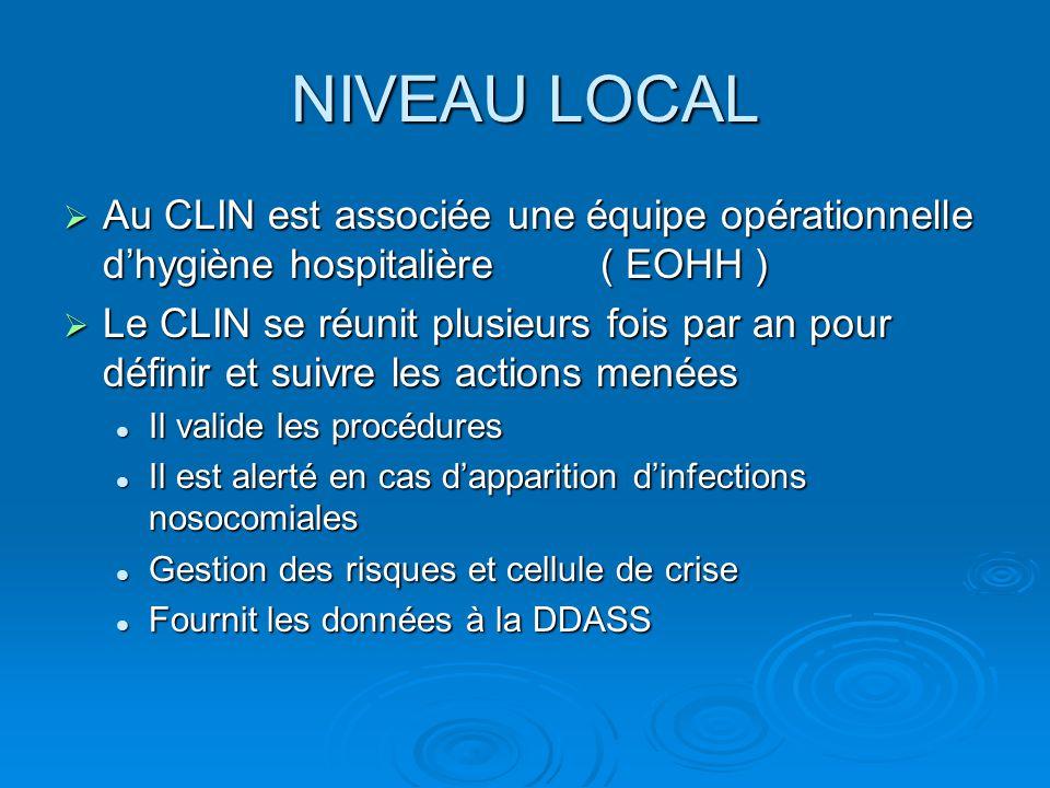 NIVEAU LOCAL Au CLIN est associée une équipe opérationnelle d'hygiène hospitalière ( EOHH )