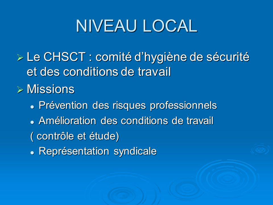 NIVEAU LOCAL Le CHSCT : comité d'hygiène de sécurité et des conditions de travail. Missions. Prévention des risques professionnels.