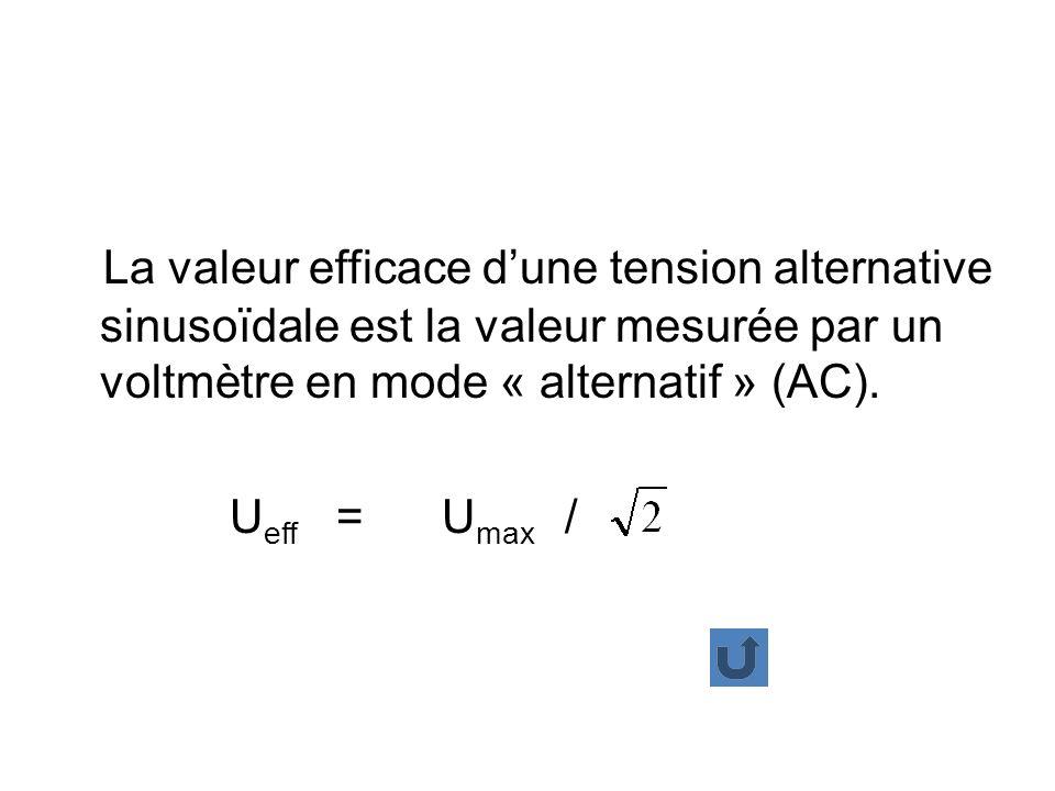La valeur efficace d'une tension alternative sinusoïdale est la valeur mesurée par un voltmètre en mode « alternatif » (AC).