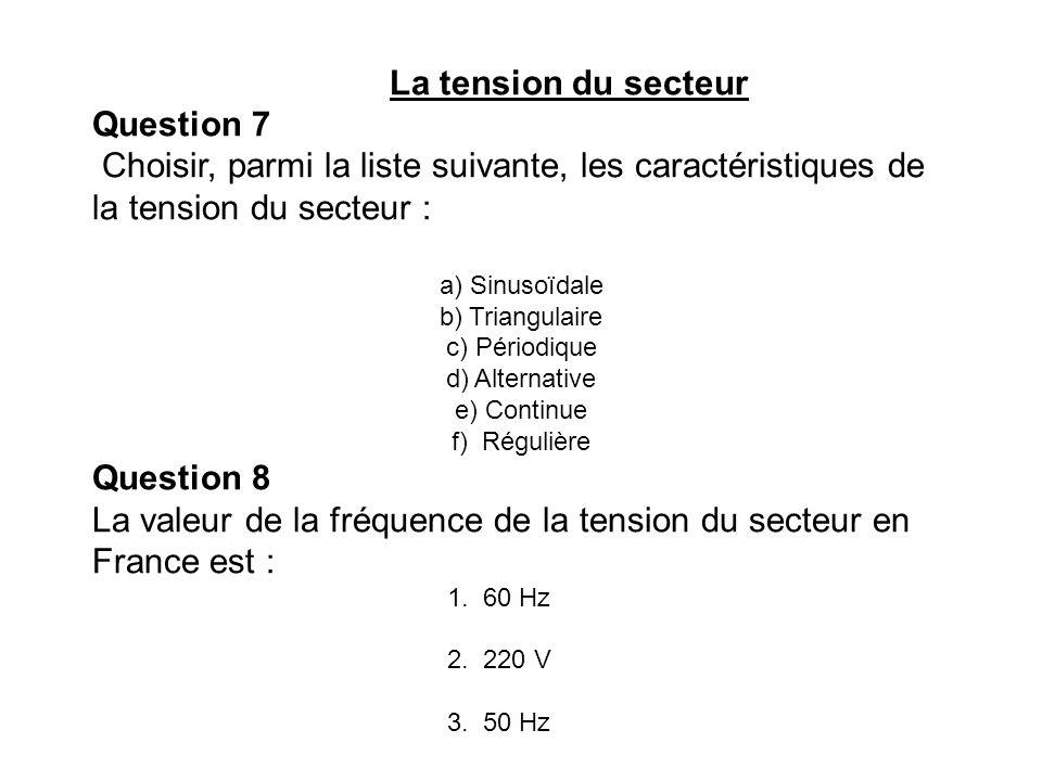 La valeur de la fréquence de la tension du secteur en France est :