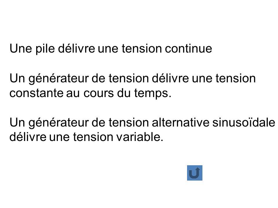 Une pile délivre une tension continue Un générateur de tension délivre une tension constante au cours du temps.